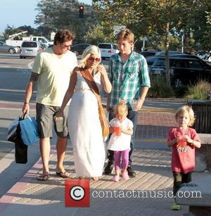 A heavily pregnant Tori Spelling shops in Malibu with her husband Dean McDermott and their children Los Angeles, California -...