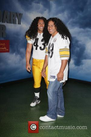 Pittsburgh Steelers football star Troy Polamalu attends his wax figure unveiling at Madame Tussauds in New York City New York...