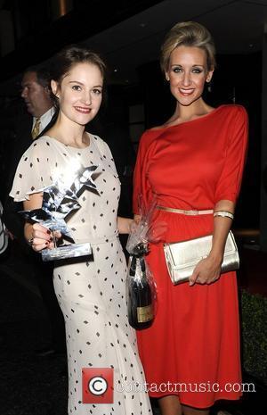 Coronation Street actress Paula Lane and Catherine Tyldesley leaving The TV Choice Awards. London, England - 13.09.11