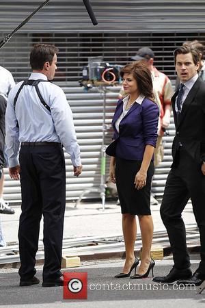 Tim DeKay,Tiffani Thiessen and Matthew Bomer filming on the set of 'White Collar' in Manhattan New York City, USA -...