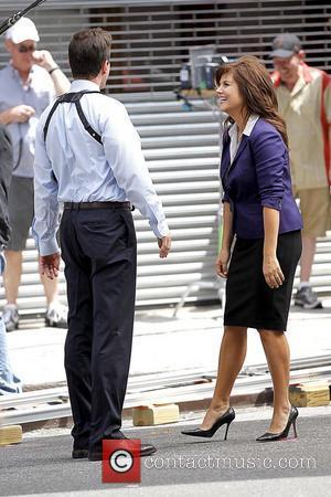 Tim DeKay and Tiffani Thiessen filming on the set of 'White Collar' in Manhattan New York City, USA - 30.06.11