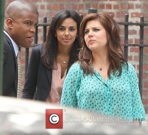 Marsha Thomason, Sharif Atkins and Tiffani Amber Thiessen shooting on location for 'White Collar' in New York City New York...