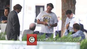 William Baldwin talking to friends outside the UTA offices in Beverly Hills. Los Angeles, California - 26.04.11