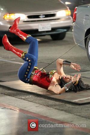 Wonder Woman stunt double filming in Hollywood on the set of 'Wonder Woman'  Los Angeles, California - 29.03.11