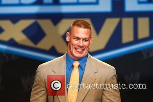 John Cena attends a press conference with WWE superstars for 'WrestleMania XXVII' held at Hard Rock Cafe New York City,...