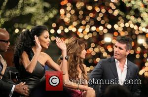 L.A. Reid, Nicole Scherzinger, Paula Abdul and Simon Cowell  'The X Factor' USA judges and contestants filming at The...