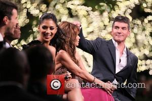 Steve Jones, L.A. Reid, Nicole Scherzinger, Paula Abdul and Simon Cowell 'The X Factor' USA judges and contestants filming at...