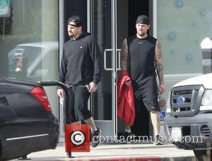 Benji Madden; Joel Madden Benji Madden (left) and Joel Madden leaving their gym after a workout  Featuring: Benji Madden,...