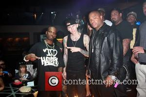 DMX, Machine Gun Kelly and Xzibit who makes a cameo appearance in Kelly and DMX's new music video I Don't...