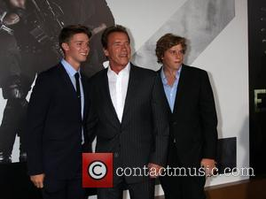 Patrick Schwarzenegger, Arnold Schwarzenegger and Christopher Schwarzenegger at the Los Angeles Premiere of The Expendables 2 at Grauman's Chinese Theatre....