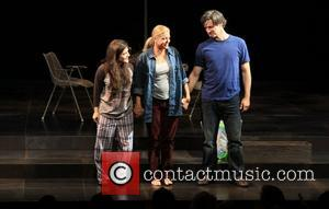 Madeleine Martin, Mary McCann and Gareth Saxe Opening night curtain call for the Atlantic Theatre Company production of 'Harper Regan',...