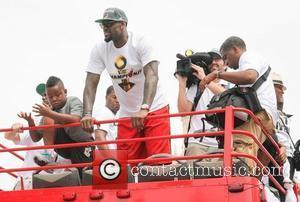 Lebron James  during a Miami Heat victory parade through the streets of Miami, Florida, USA on June 25, 2012....