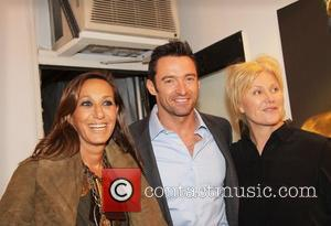 Donna Karan, Hugh Jackman and Deborra-Lee Furness attend the Nomad Two Worlds Russell James Exhibit Opening at the Chair and...