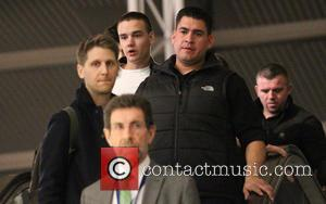 Liam Payne One Direction at Los Angeles International Airport, LAX checking at the British Airways booth  Featuring: Liam Payne...
