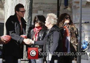 New England Patriots, Tom Bready, Aerosmith's Joe Perry, Joey Kramer, Steven Tyler and Commonwealth Ave