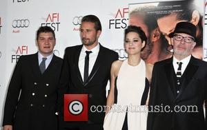 Tom Bernard, Mathias Schoenaerts, Marion Cotillard, Jacques Audiard and Grauman's Chinese Theatre