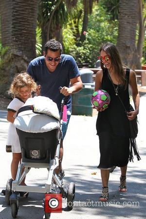 Cash Warren, Honor Marie Warren, Jessica Alba Jessica Alba spending time with her family in Beverly Glen Park in Beverly...