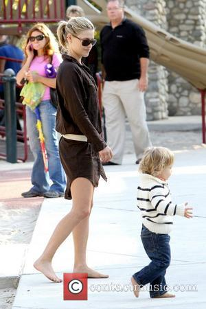 Ali Larter and Theodore MacArthur Ali Larter enjoys a day at Coldwater Canyon Park with her husband and their son...