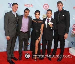 Olympians Ryan Lochte, Danell Levya, Eva Longoria, Leonel, Manzano and guest  2012 NCLR ALMA Awards, held at Pasadena Civic...