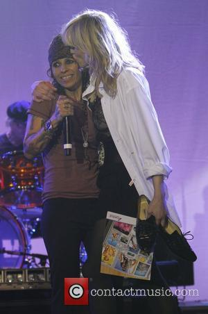 Courtney Love, Linda Perry and Beverly Hilton Hotel
