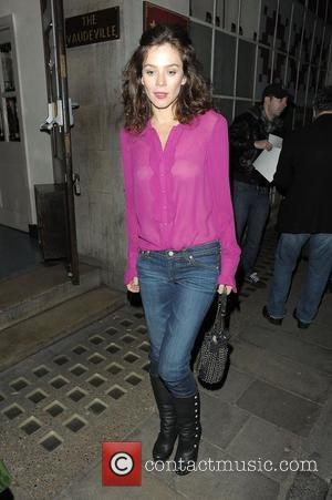 Anna Friel wearing a see-through pink blouse leaves the Vaudeville Theatre after perfoming in the play 'Uncle Vanya' London, England...