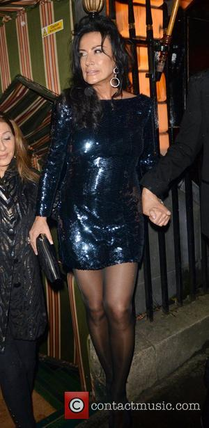 Nancy Dell'Olio leaving Annabel's private members club in Mayfair. London, England - 02.10.12