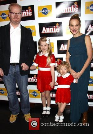 Jim Gaffigan, Jeannie Noth Gaffigan, Marre Gaffigan and Katie Louise Gaffigan Opening night of the Broadway musical 'Annie' at the...