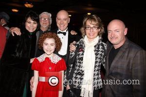 Shelly Burch, Martin Charnin, Anthony Warlow and Lilla Crawford (in costume), Gabrielle Giffords and Mark E. Kelly Photo op with...