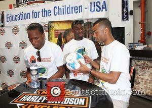 Didier Drogba, Shaun Wright-Phillips and Ashley Cole Professional football players from the English Premier League host an event at Eaglerider...
