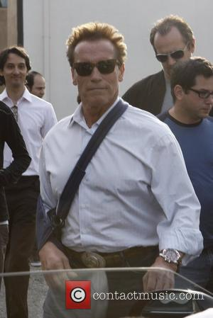 Arnold Schwarzenegger  leaves Cafe Roma with his arm in a sling following shoulder surgery Los Angeles, California - 18.02.12