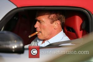 Arnold Schwarzenegger returns to his Bentley with a cigar in his mouth after eating lunch at Caffe Roma in Beverly...