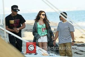 Selena Gomez celebrates her pal Ashley Tisdale's 27th birthday on the beach with friends in Malibu Malibu, California - 02.07.12