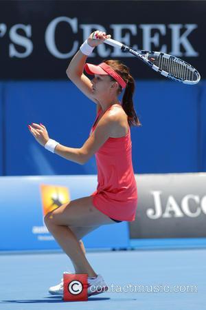 Agnieszka Radwanska Australian Open Tennis 2013 - Rod Laver Arena - Agnieszka Radwanska v Bojana Bobusic  Featuring: Agnieszka Radwanska...