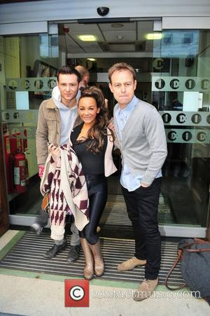 Harry Judd, Chelsee Healey and Jason Donovan arriving at the BBC Radio One studios before appearing in the final of...