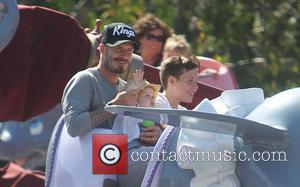 David Beckham, Harper Beckham and Brooklyn Beckham ,  Beckham family on a day out to Disneyland. Los Angeles, California...