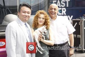 David Chien, Bernadette Peters and Tom Viola attend Gray Line New York's Ride of Fame campaign at Pier 78. New...