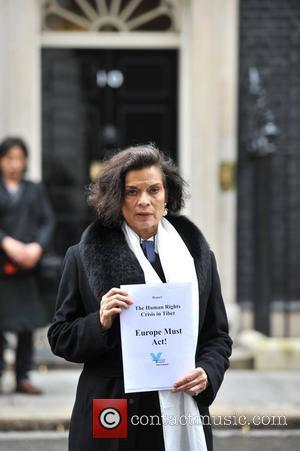 Bianca Jagger  delivers her Tibet Campaign report to 10 Downing Street. London, England - 10.05.12