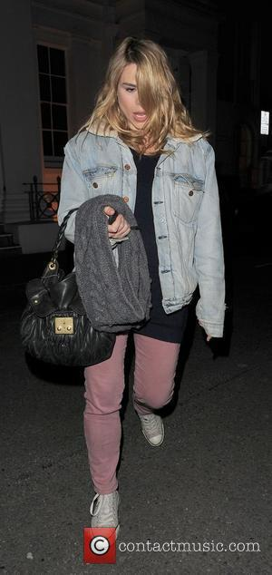 Billie Piper leaving the Almeida Theatre, having performed in a production of 'Reasons to be Pretty'. Pregnant Billie did not...
