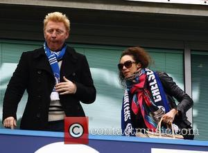 Boris Becker and wife, Lilly Kerssenberg watch Chelsea F.C. take on Leicester City F.C. at Stamford Bridge in the Quarter-...