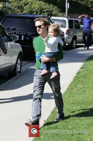 Breckin Meyer enjoys the day at Coldwater Canyon Park with his daughter Caitlin Willow Meyer Los Angeles, California - 11.03.12