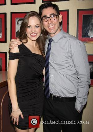 Laura Osnes and Max Crumm attending the post show reception for the 'Broadway Originals' concert held at The Town Hall...