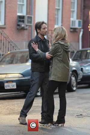 Natascha McElhorne and David Duchovny film a flashback scene for the television series 'Californication' New York City, USA - 21.04.12