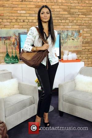 Camila Alves  appears on The Marilyn Denis Show to promote her new line of hand crafted leather bags called...