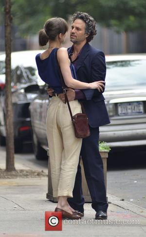 Keira Knightley and Mark Ruffalo  on the set of new movie 'Can A Song Save Your Life?' New York...