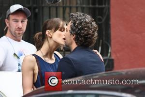 Keira Knightley and Mark Ruffalo  share a kiss while filming their new movie 'Can A Song Save Your Life?'...