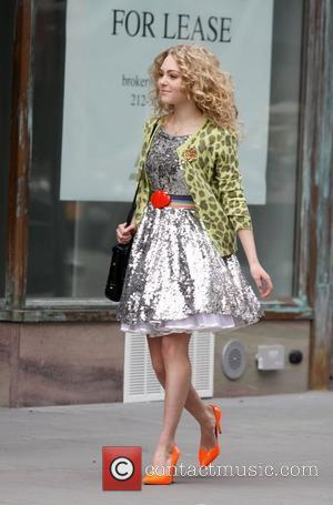 AnnaSophia Robb on the set of 'The Carrie Diaries' in Manhattan New York City, USA - 01.04.12