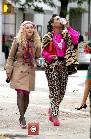 Anne Sophia Robb and  Freema Agyeman  shooting on location for CW the Carrie Diaries New York City, USA...