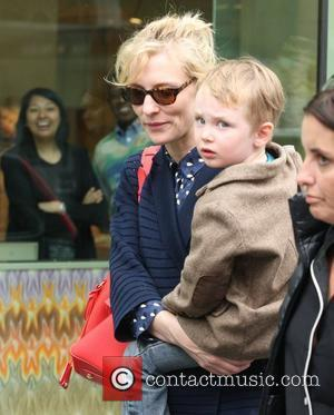 Cate Blanchett walking up Madison Avenue carrying her son Ignatius Martin Upton. New York City, USA - 07.05.12