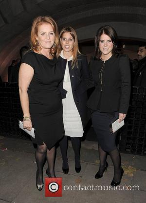 Sarah Ferguson, Princess Beatrice and Princess Eugenie. Valentino: Master of Couture - Private View - Departures. London, England - 28.11.12
