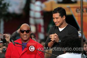 Stevie Wonder at The Grove to appear on entertainment news show 'Extra'  Featuring: Stevie Wonder, Mario Lopez